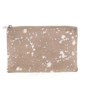 Madewell splatter paint suede zip pouch clutch